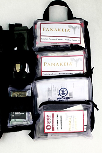 Large Civilian DASH bag panel close-up with alternate Panakeia Bleeding Control Kits