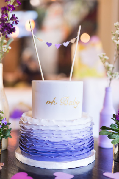 Purple Ombre Baby Shower Cake
