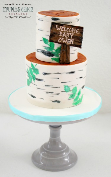 Birch Tree Baby Shower Cake