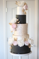 black and white wedding, tucson wedding cake, tucson bakery