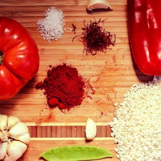 fresh paella ingredients