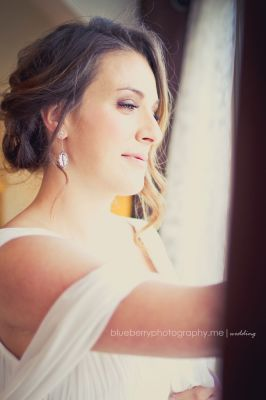 Beautiful bride on her wedding having a moment of thoughtfulness