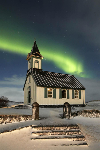 Pingvellir church aurora, Iceland T127