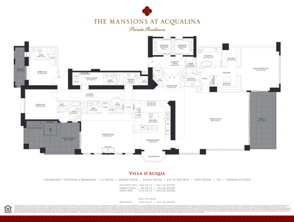 Mansions At Acqualina Villa DI ACQUA floor plan
