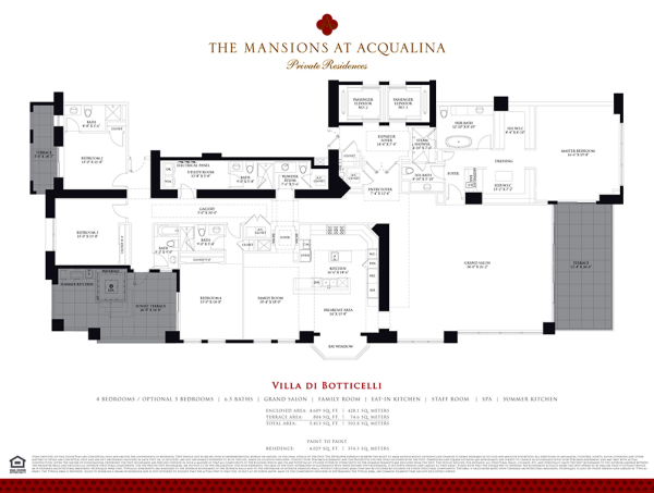 Mansions At Acqualina Villa DI BOTTICELLI floor plan