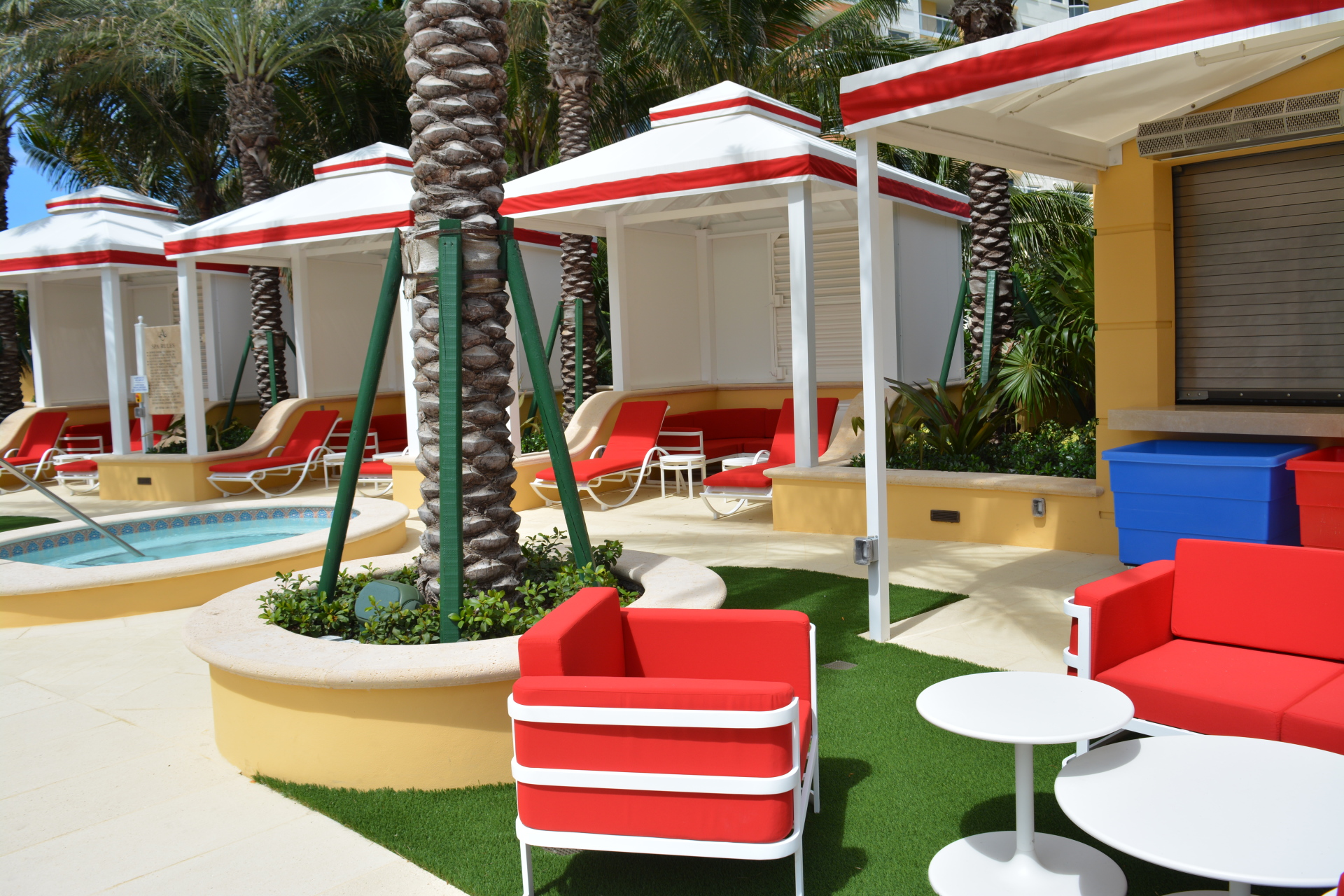 Mansions At Acqualina Miami pool deck cabanas