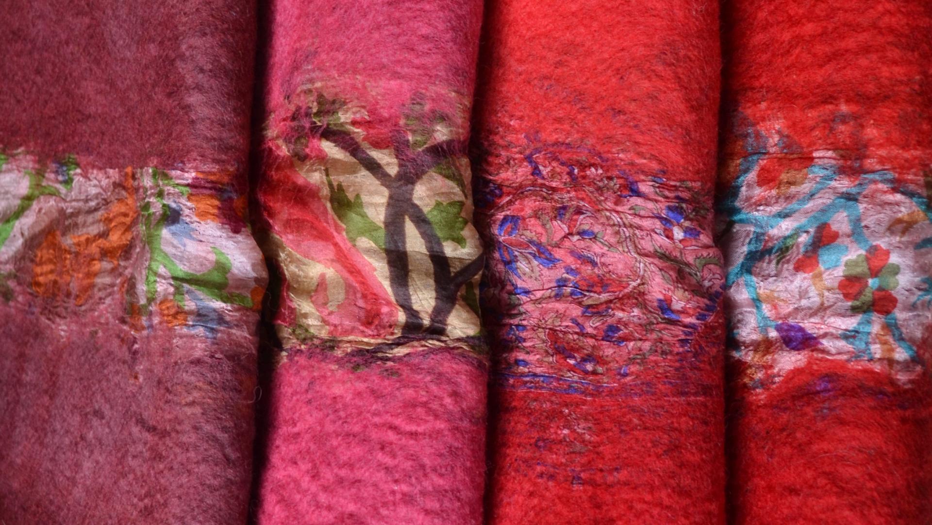 felt wool, hand made, wool, silk scarf, scarf, shawl, wrap