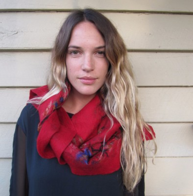 felt wool and silk scarf haba australia hand dyed red