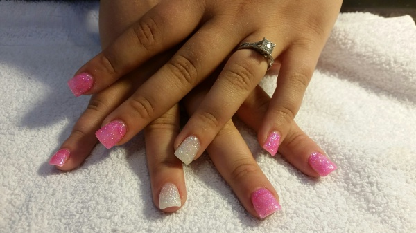 Pink & White Glitter