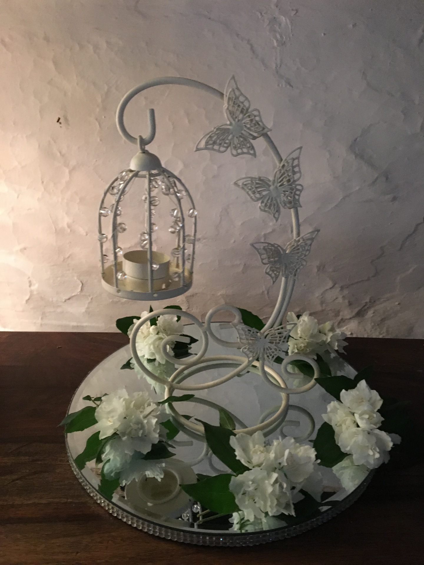 Hanging bird cages supplied with mirrored plate, led tea light & choice of decor