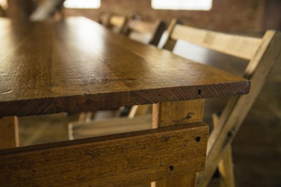 Wooden tables for hire