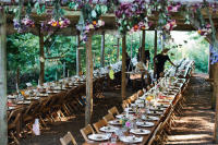 #Tableware at #vintage folding chairs at #rustic woodland #wedding in Kent