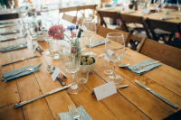 #Wooden #tables and #chairs #hire create a great scene