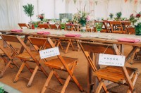 #mobilebar #bar #hire #Wooden #tables and #chairs create a great scene