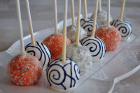 coral and blue cake pops