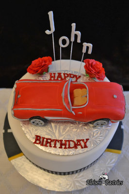 car cake, sports car birthday cake, corvette birthday cake