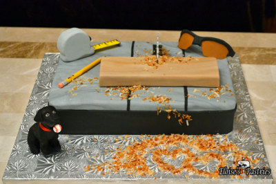 grooms cake, woodsaw table,