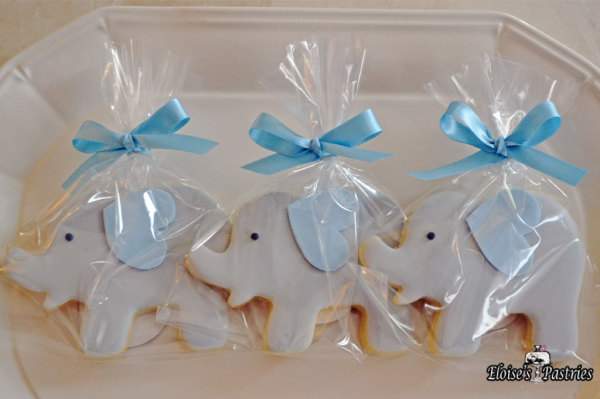 blue baby shower cookies, blue elephant cookies, baby shower favors