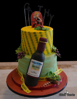 wine bottle cake, murder mystery cake, birthday cake