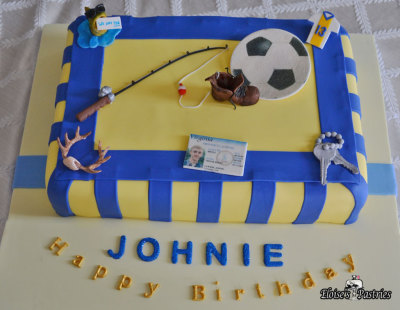birthday cake for teenage boy, birthday cake sports, fishing birthday cake, soccer birthday cake,