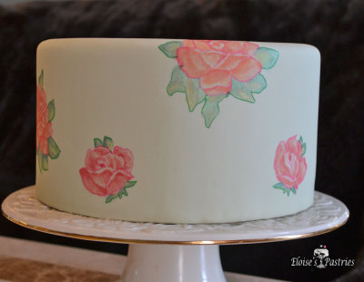 rose birthday cake, elegant birthday cake