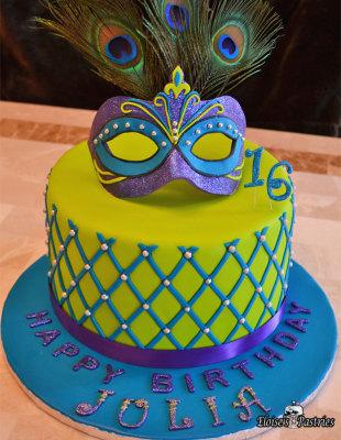 marti gras cake, birthday cake, sweet 16 mask cake