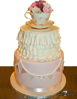 Shabby Chic Tea Cup Birthday Cake