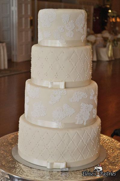 Ivory Wedding Cake with White Details
