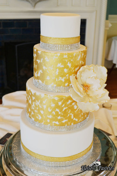 Gold and White Wedding Cake 2015, modern wedding cake with statement flower