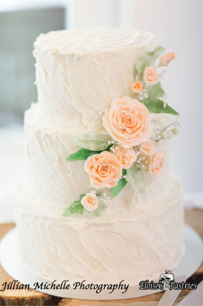 Buttercream Exterior Wedding Cake with Gumpaste Flowers