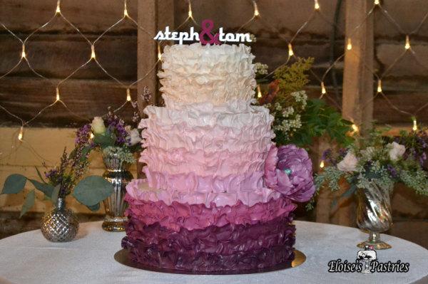 Ruffled Ambre Wedding Cake