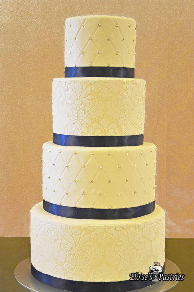 White Piping and Overlay with Navy Ribbon