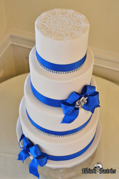 White and Blue Lace Cake