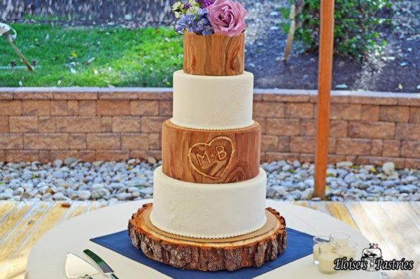 Tree Stump and Lace Wedding Cake