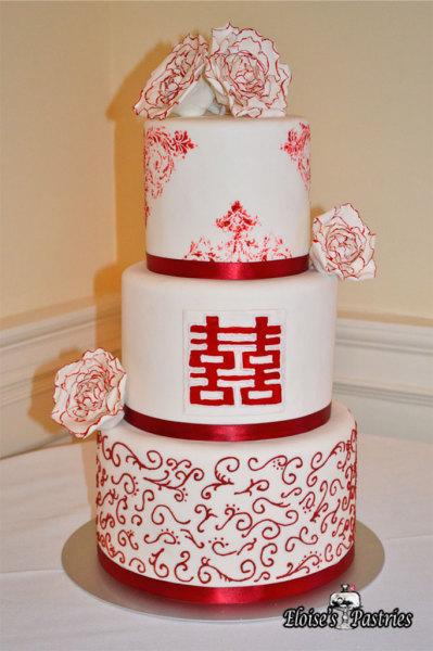 Chinese Double Happy Wedding Cake