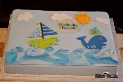Nautical Whale Theme Baby Shower Cake