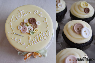 Cute As A Button Cake and Cupcakes