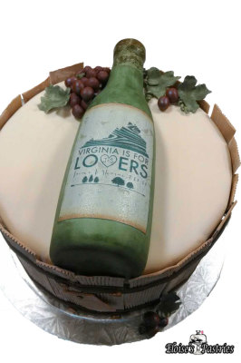 Wine Bottle Bridal Shower Cake