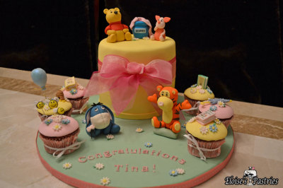 Winnie The Pooh Baby Shower Cake and Cupcakes