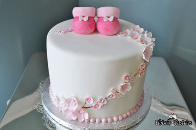 Cherry Blossom Baby Shower Cake