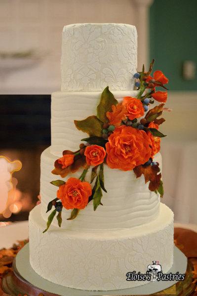 Elegant White Wedding Cake with Red Gumpaste Bouquet