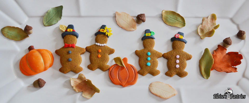 mini gingerbread cookies pilgrims, thanksgiving cookies