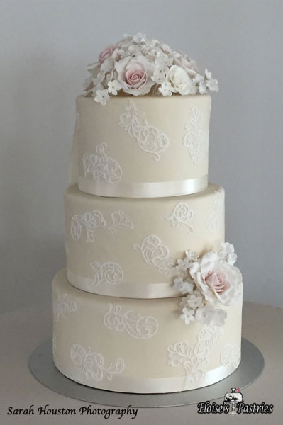 Ivory and Lace Wedding Cake with Gumpaste Flowers