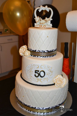 Black, Gold and White 50th Anniversary Cake