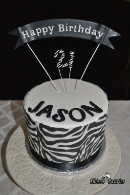 Zebra Striped Birthday Cake