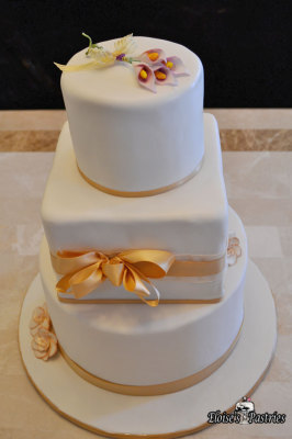 White and Champagne Engagement Cake