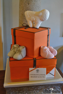 Hermes Box Baby Shower Cake