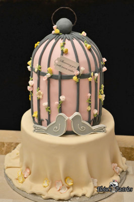 love birds, bridal shower cakes