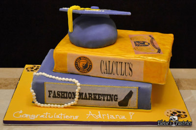 Books and Hat Graduation Cake