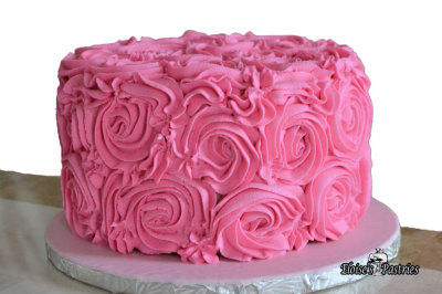 Pink Buttercream Rose Covered Cake